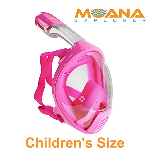 Moana Explorer Full Face Snorkel Mask-180 Degree Panoramic View-Largest Viewing Area-Newest Anti Fog and Anti Leak Technology-Free Breathing-Great for Kids and Adults (Pink, - Moana Full Free