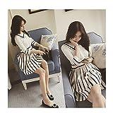 Evtech(tm) Women's Navy Waist Knit Bracelet Sleeve Stripe Dress Fashion Sweet Style White - M