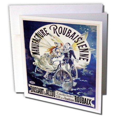 - BLN Vintage Bicycle Advertising Posters - Vintage Manufacture Roubaisienne Bicycle French Poster - 1 Greeting Card with envelope (gc_149188_5)