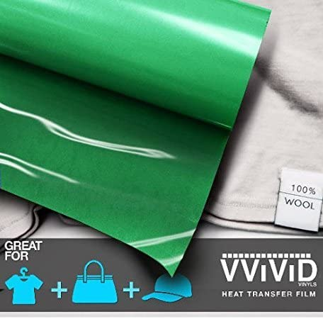 VViViD Green Heat Transfer Vinyl Iron-On Application 12 Inch x 3ft Roll