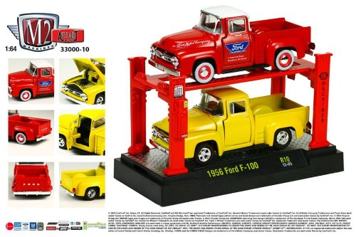 (1956 Ford F-100 (Red & Yellow) * M2 Machines * 2013 Auto-Lift 1:64 Scale Die-Cast Vehicles & Auto-Lift Display 2 Pack)