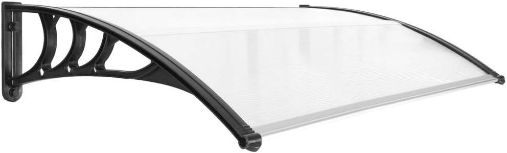 PrimeMatik - Tejadillo de protección 120x80cm Marquesina para Puertas y Ventanas Negro