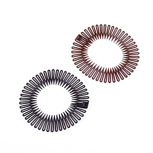 1x Sport Plastic Stretch Hair Band Full Circle Flexible Comb Teeth Headband Clip Random (Band Clip)