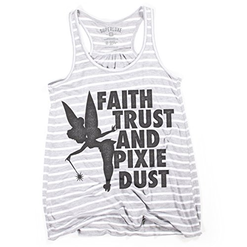 Superluxe Clothing Womens Faith Trust and Pixie Dust Tinkerbell Racerback Tank Top, Heather White Stripe, XX-Large