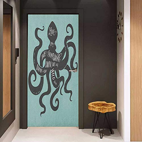Guam Drink - Onefzc Soliciting Sticker for Door Octopus Live in The Sunshine Swim The Sea Drink The Wild Air Message Graphic Mural Wallpaper W38.5 x H77 Charcoal Grey Turquoise