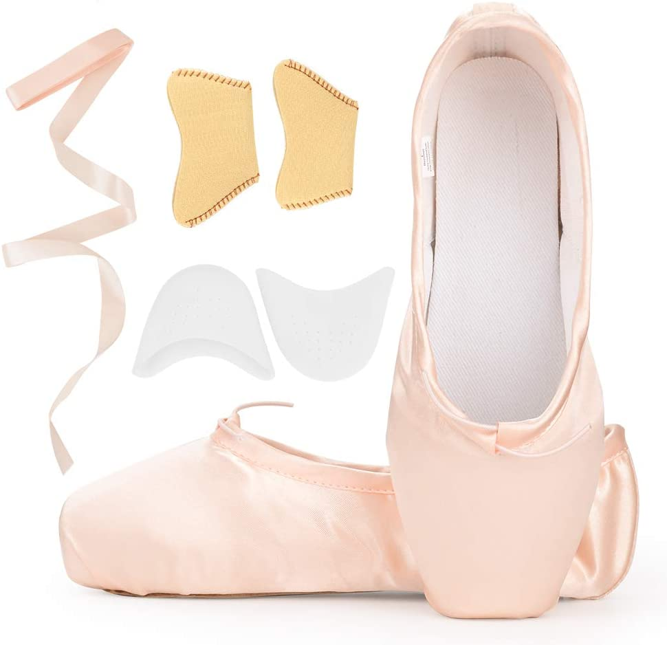 KUKOME-SHOP Satin Ballet Pointe Shoes Dance Shoe with Ribbon and Toe Pads for Girls Women