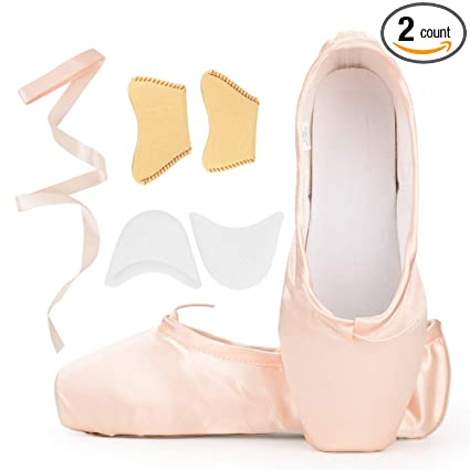 9fdad5f56435b Girls Womens Dance Shoe Pink Satin Ballet Pointe Shoes with Ribbon and Toe  Pads (US3