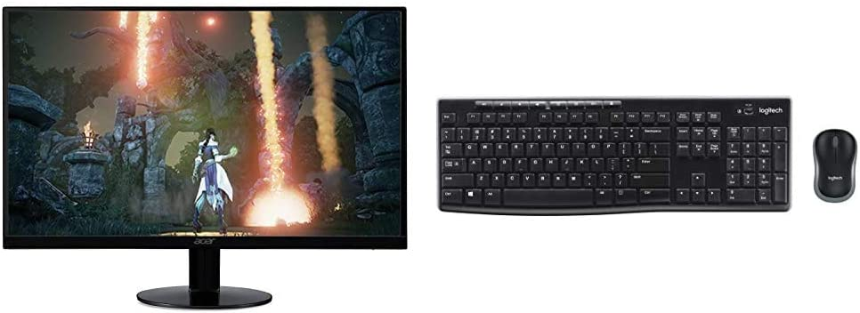 """Acer SB230 Bbix 23"""" Full HD (1920 x 1080) IPS Ultra-Thin Zero Frame Monitor, Black & Logitech MK270 Wireless Keyboard and Mouse Combo - Keyboard and Mouse Included (Frustration-Free Packaging)"""