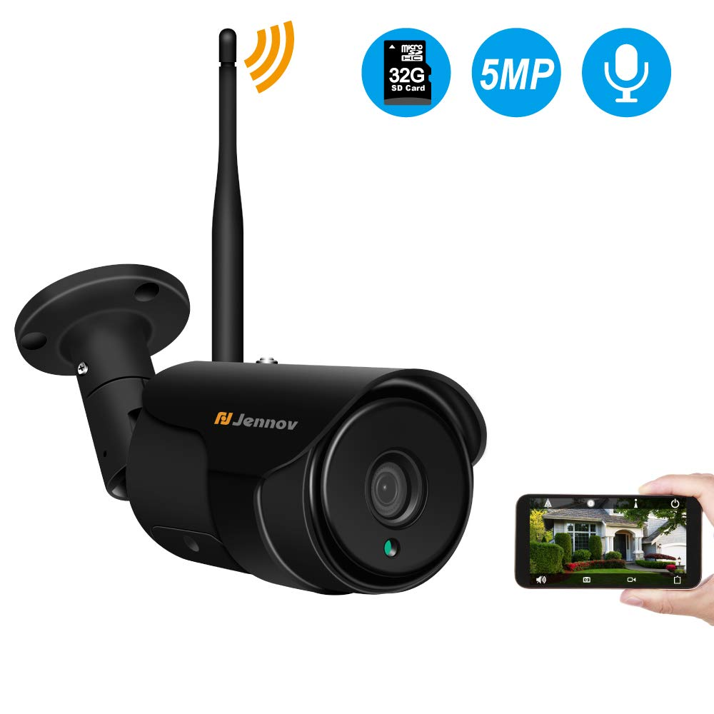 Jennov 5MP Wireless WiFi Security Camera H264 Video Home Surveillance Outdoor Waterproof and Siren Alarm 2.4G Wi-Fi Ethernet Connection Motion Detection Two-Way Audio