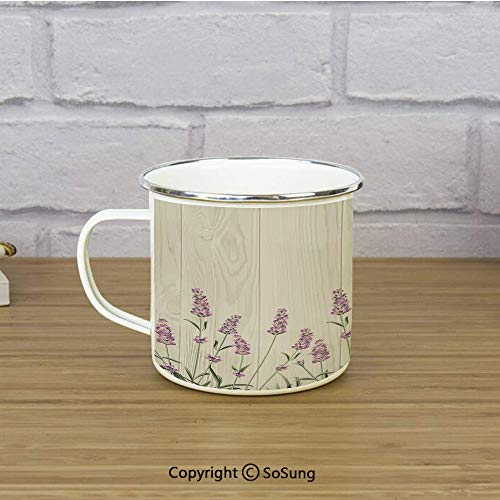 Lavender Enamel Coffee Mug,Aromatic Herbs on Wooden Planks Springtime Nature Botany Illustration,11 oz Practical Cup for Kitchen, Campfire, Home, TravelBeige Lilac Sage Green ()