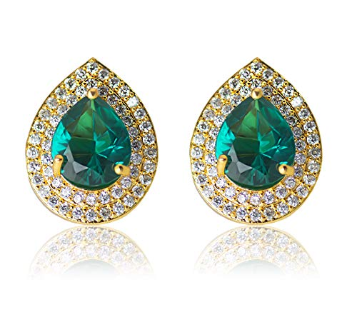 Waama Jewels Gold Plated AD Studded Drop Earring Fashion Jewellery for Women  amp; Girls  Green