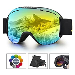 Jogoo Ski Goggles For Snowboard and Snowmobile,Interchangeable Lens and Magnetic Detachable Foam,UV400 Protection and Anti fog Design OTG Snow Goggles for Men Women Youth & Unisex