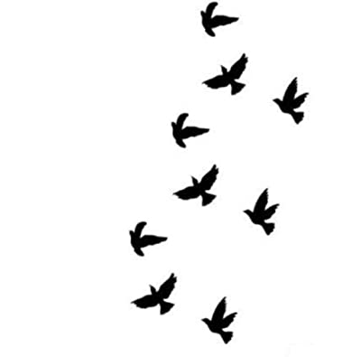 9 Petit Tatouages Ephemeres Divergente Oiseaux Noir Waterproof