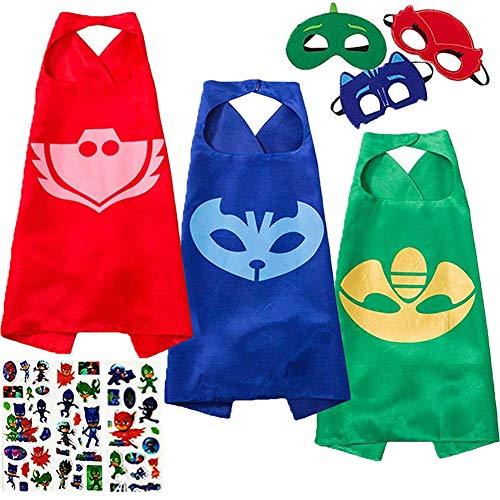 NuGeriAZ Costumes and Dress up for Kids - Catboy Owlette Gekko Capes and Masks Compatible Superhero Capes for Kids -