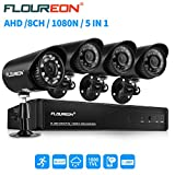 floureon 8 CH House Camera System DVR 1080N AHD + 4 Outdoor/Indoor Bullet Home...