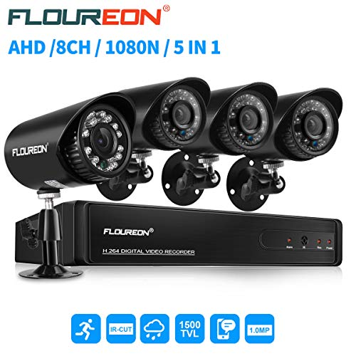 floureon 8 CH House Camera System DVR 1080N AHD + 4 Outdoor/Indoor Bullet Home Security Cameras 1500TVL 720P 1.0MP AHD Resolution Night Version for House/Apartment/Office (Wireless Servalance Camera)