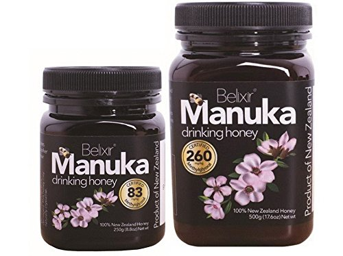 Manuka Honey 2 pack. 8.8 oz jar of MG 83 and 1.1 lb jar of MG 260. Best family value pack for breakfast, smoothies and good (83 Value Pack Light)