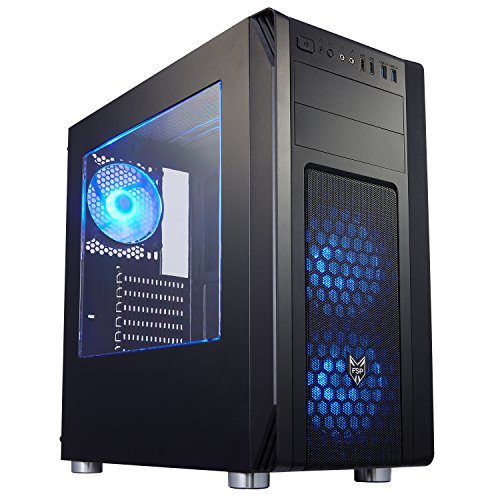 FSP ATX Mid Tower PC Computer Gaming Case with Translucent Side Window Panel , Black(CMT230)