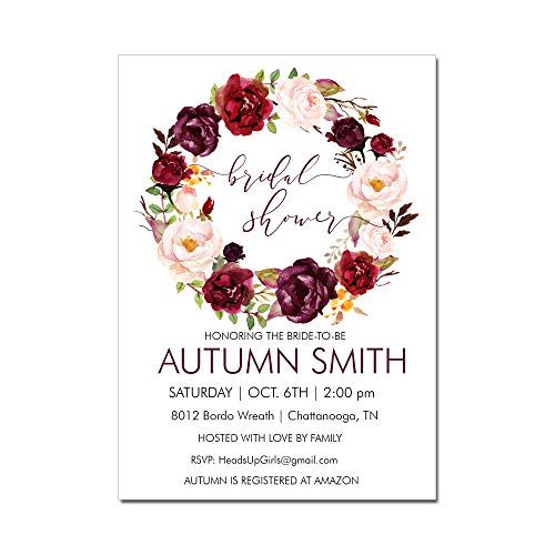 Party Invitation Wording Fall (Set of 12 Personalized Bridal Shower Invitations and Envelopes with Autumn Fall Bordo Burgundy Flowers Wreath NVF8012)