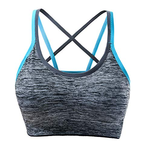 (Womens Summer Sports Yoga Bra Tops, Ladies Removable Padded Intimate Lingerie Bralette Workout Running Activewear (Blue, XL))