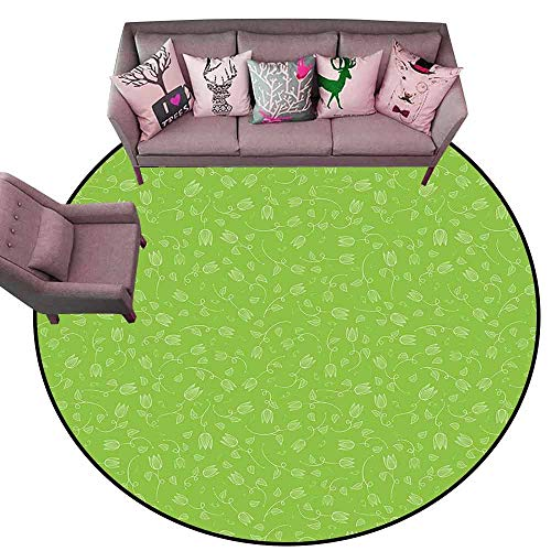 (Print Floor Mats Bedroom Carpet Green,Doodle Style Tulip Flowers with Swirled Twigs and Leaves Blossoming Nature,Lime Green White Diameter 54