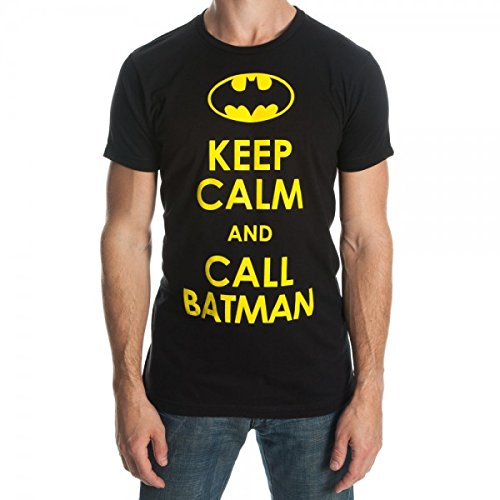 (Bioworld Batman Keep Calm and Call Batman Men's Black T-Shirt-X-Large )