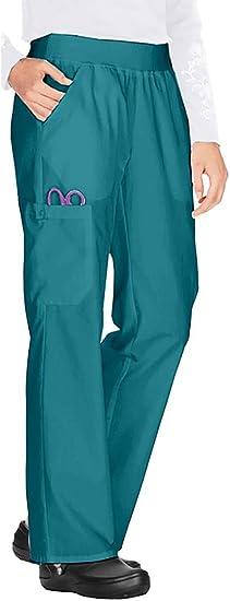 Cherokee Womens Petite Scrubs Flexibles Mid-Rise Knit Waist Pull-On Missy Fit Pant