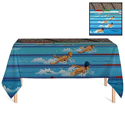 SATVSHOP Summer Outdoor Tablecloth /70x132 Rectangular,Olympics rations Illustration of Swimmers During Swimming Competition Sports Theme Cartoon Art Aqua Sand Brown.for Wedding/Banquet/Restaurant. ()