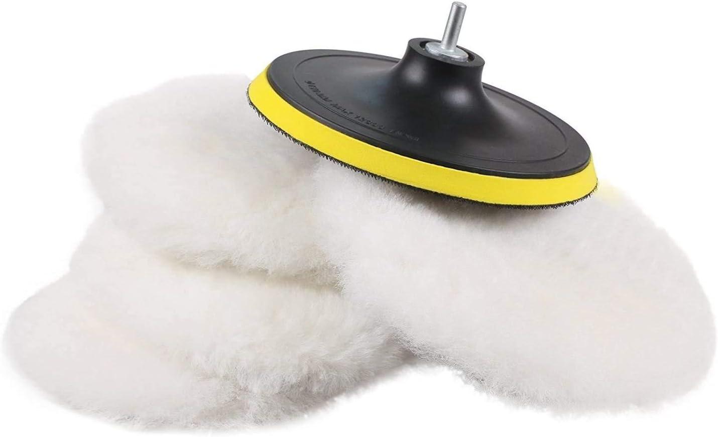 SPTA 6 Pcs 6 Inch Polishing Buffer Wool and Wheel Polishing Pad Woolen Polishing Waxing Pads Kits with Backing Plate for Car Polisher: Automotive