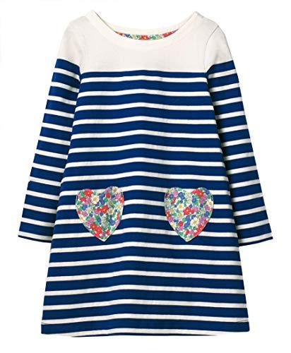 GSVIBK Kid Girls Cotton Dress Baby Casual Short Sleeve Dress Toddler Dinosaur Dress Cartoon Dress H 5T 705