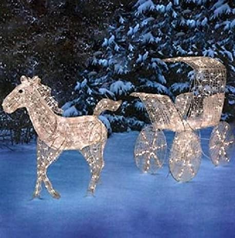 outdoor animotion crystalline horse and carriage display christmas yard decoration - Christmas Horse Yard Decorations