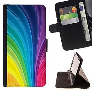 For Samsung Galaxy J1 J100 Case , Vertical remolina colores del arco iris colorido- la tarjeta de Crédito Slots PU Funda de cuero Monedero caso cubierta de piel
