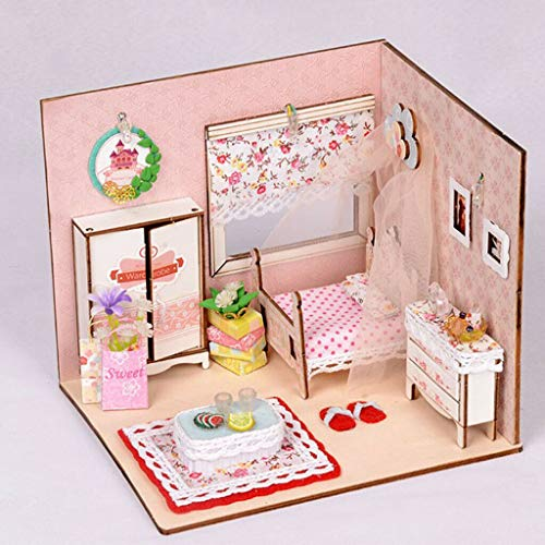 NATFUR Handcrafted Miniature Project Sweet Style Princess Bedroom Model 1:24 ()