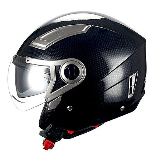 1STORM MOTORCYCLE OPEN FACE HELMET SCOOTER BIKE DUAL LENS/SUN VISOR Carbon Fiber - Fiber Face Carbon