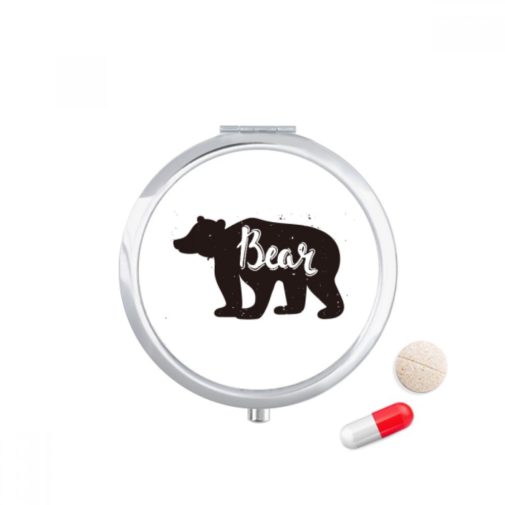 Bear Black And White Animal Travel Pocket Pill case Medicine Drug Storage Box Dispenser Mirror Gift
