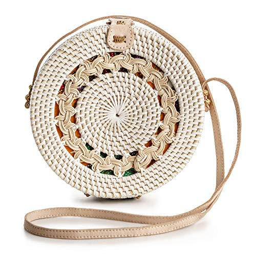 Rattan Bags for Women - Handmade Wicker Woven Purse Handbag Circle Boho Bag ()