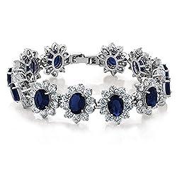 Oval Royal Blue Sapphire CZ Tennis Bracelet