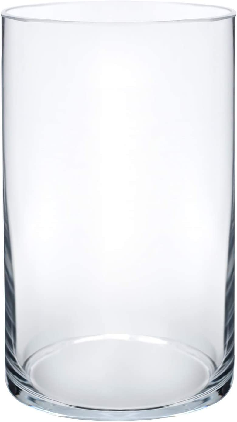 """Royal Imports Flower Glass Vase Decorative Centerpiece for Home or Wedding Cylinder Shape, 6"""" Tall, 3.5"""" Opening, Clear"""