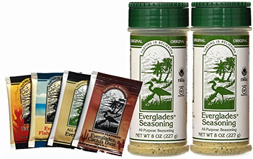 Everglades Seasoning Original All Purpose Seasoning 8 oz 2 Pack with Sample Pouches! Cactus Dust Heat Fish Chicken Rub by Everglades