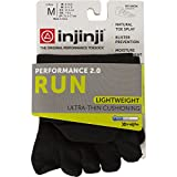 Injinji 2.0 Men's Run Lightweight No Show Toesocks, Black, Medium