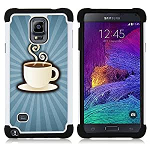 GIFT CHOICE / Defensor Cubierta de protección completa Flexible TPU Silicona + Duro PC Estuche protector Cáscara Funda Caso / Combo Case for Samsung Galaxy Note 4 SM-N910 // Coffee Power //