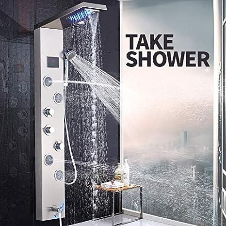 Shower system Panel de Ducha con luz LED Cascada Ducha de Lluvia ...
