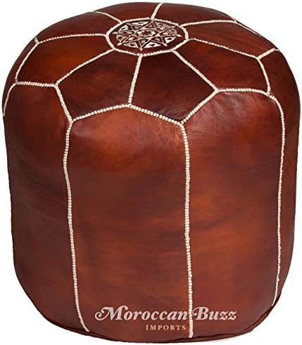 Moroccan Buzz Premium Leather Pouf Ottoman Cover, Tall Brown UNSTUFFED Pouf