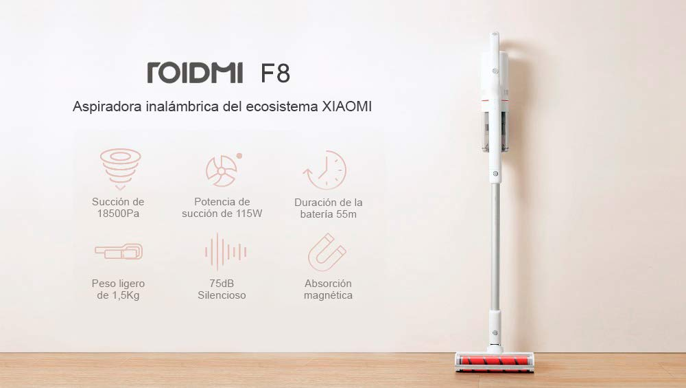 Xiaomi roidmi f8 Aspirador Escoba Inteligente, inalámbrico, Blanco, Unico