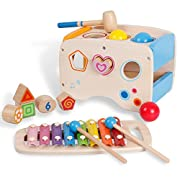 3 in 1 Wooden Educational Set Slide out Xylophone and Pounding Toys with Shape Matching Blocks for Kids baby piano toy for 1 year old
