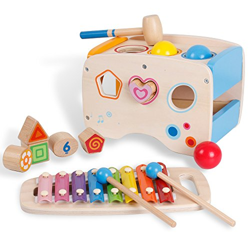 3 in 1 Wooden Educational Set Pounding Bench Toys with Slide out Xylophone and Shape Matching Blocks for Kids Baby Toddlers 1 Year Old by bodolo