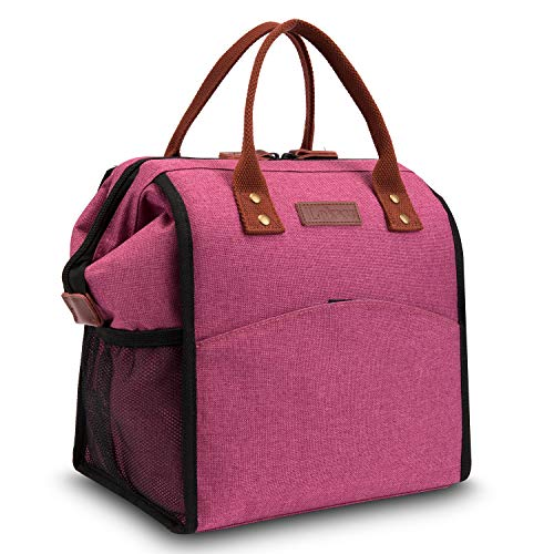 (CoolBELL Lunch Bags For Women Lunch Tote Water-Resistant Cooler Bag Soft Leak Proof Lunch Box Insulated Lunch Holder With Wide Opening for Women/Girl/Office/School (Rose))
