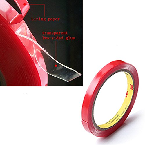 2Pcs X Two Sided Tape, Atemto PET Acrylic Double Sided Adhesive Sticker Tape 119inch Clear Tape Weatherproof Heavy Duty Heat Resistance Glue Ultra Strength Industrial Outdoor Tape (10mm X 119inch)