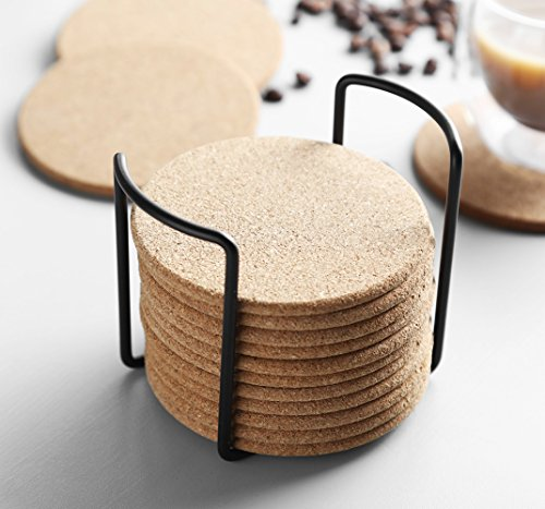 Natural Cork Coaster with Holder, Absorbent Coaster for Wine, Best for Drinks in Office, Home, or Cottage,Round, Set of 16, 4 inches by LAUCHUH (Image #4)