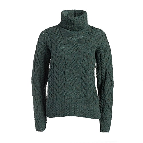 Boyne Valley Knitwear The Máire Wool Irish Sweater (Connemara Green, Large)